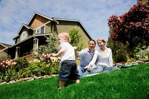 Family enjoying their beautiful new yard